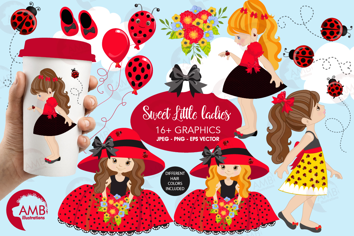 Sweet little ladies graphics, clipart, illustrations AMB-1056 example image 1