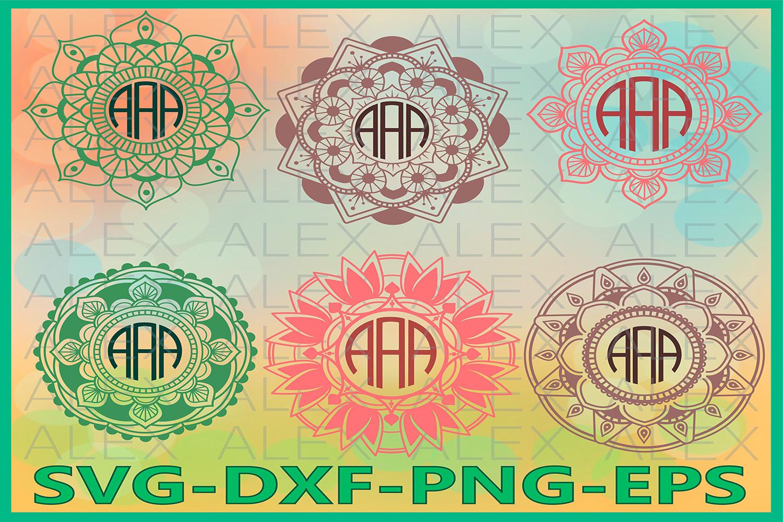 Mandala svg, Mandala Circle Monogram Frames SVG example image 1