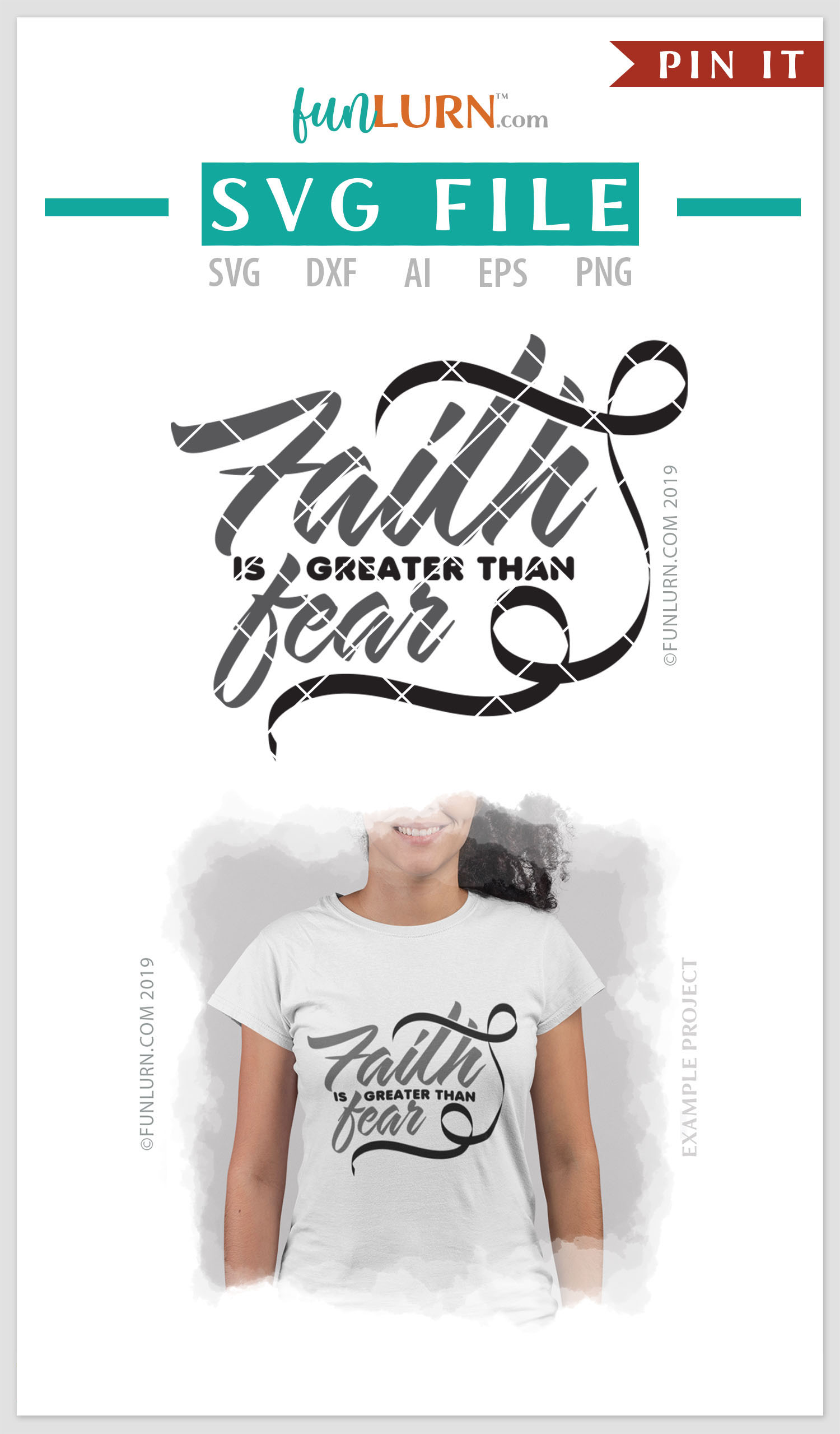 Faith is Greater Than Fear Black Ribbon SVG Cut File example image 4