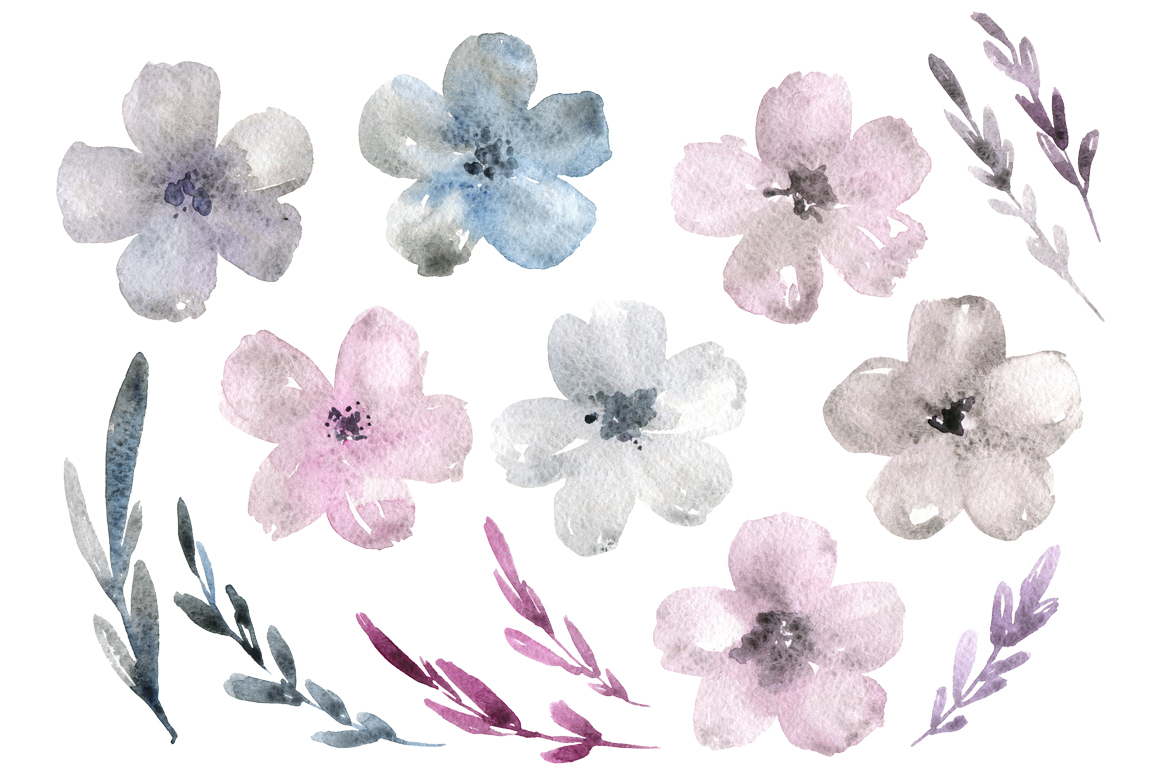 Grey watercolor flowers and branches example image 2