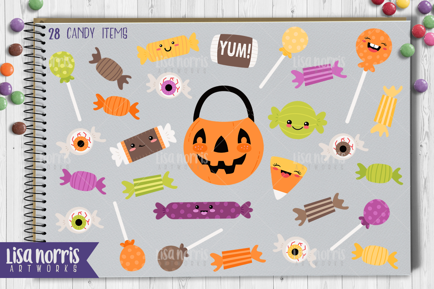 Halloween Friends Clip Art, Patterns, & SVG Cutting Files example image 3
