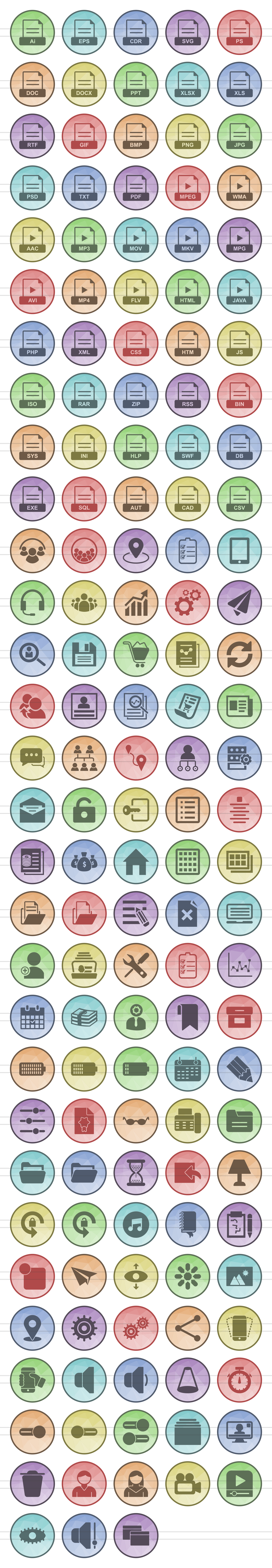 148 Files & Folders Filled Low Poly Icons example image 2