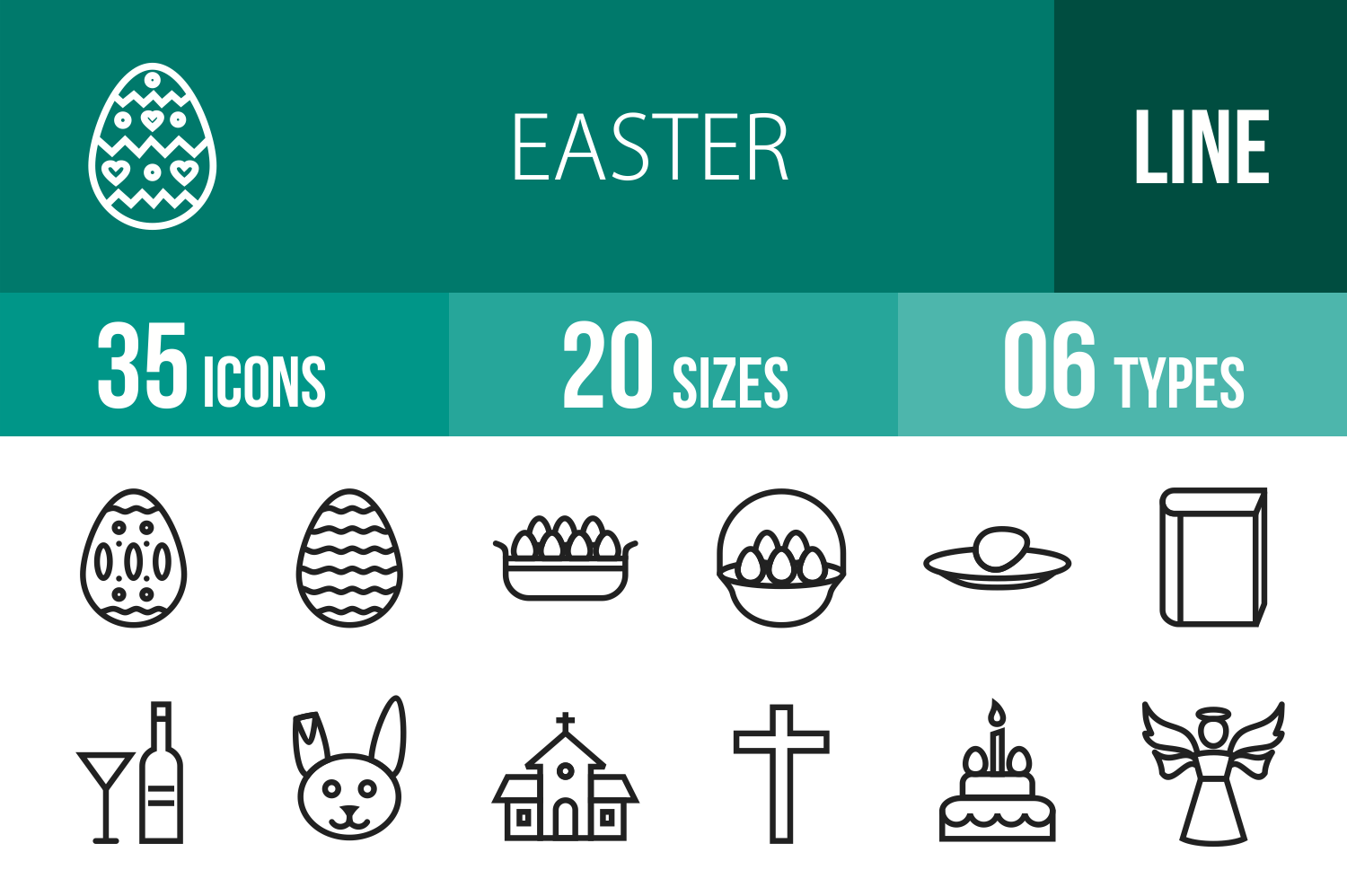 35 Easter Line Icons example image 1