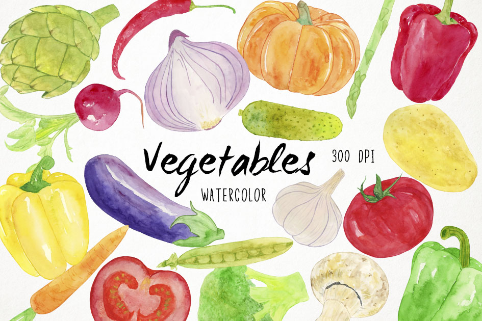 Watercolor Vegetables Clipart, Healthy Food Clipart ...