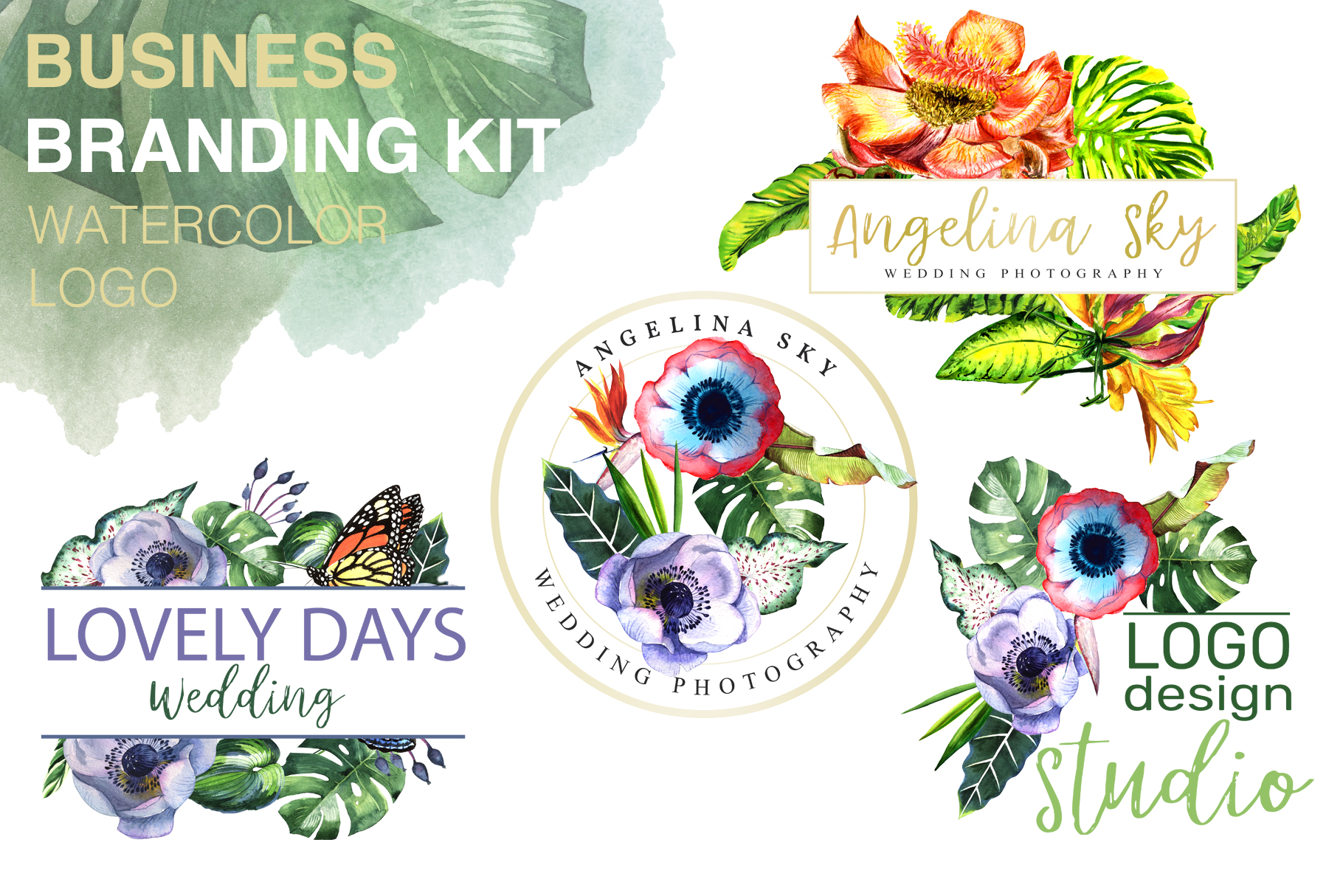 LOGO with tropical flowers Watercolor png example image 1