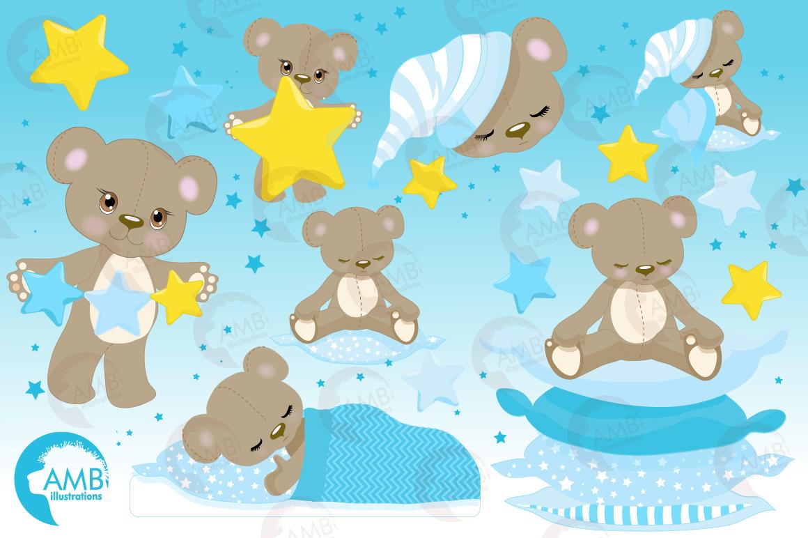 Teddy bear, nursery, baby boy, baby blue bear, clipart, graphics, llustrations AMB-980 example image 5