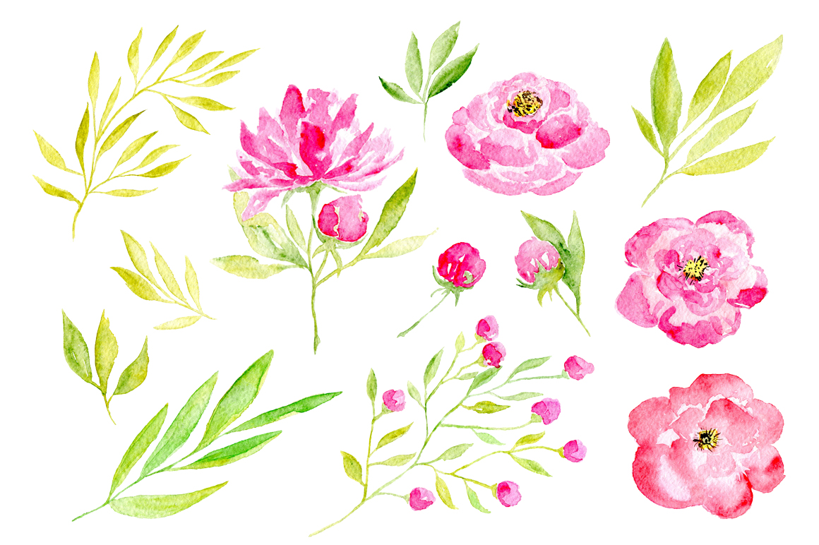 45 pink watercolor flowers and green leaves example image 3