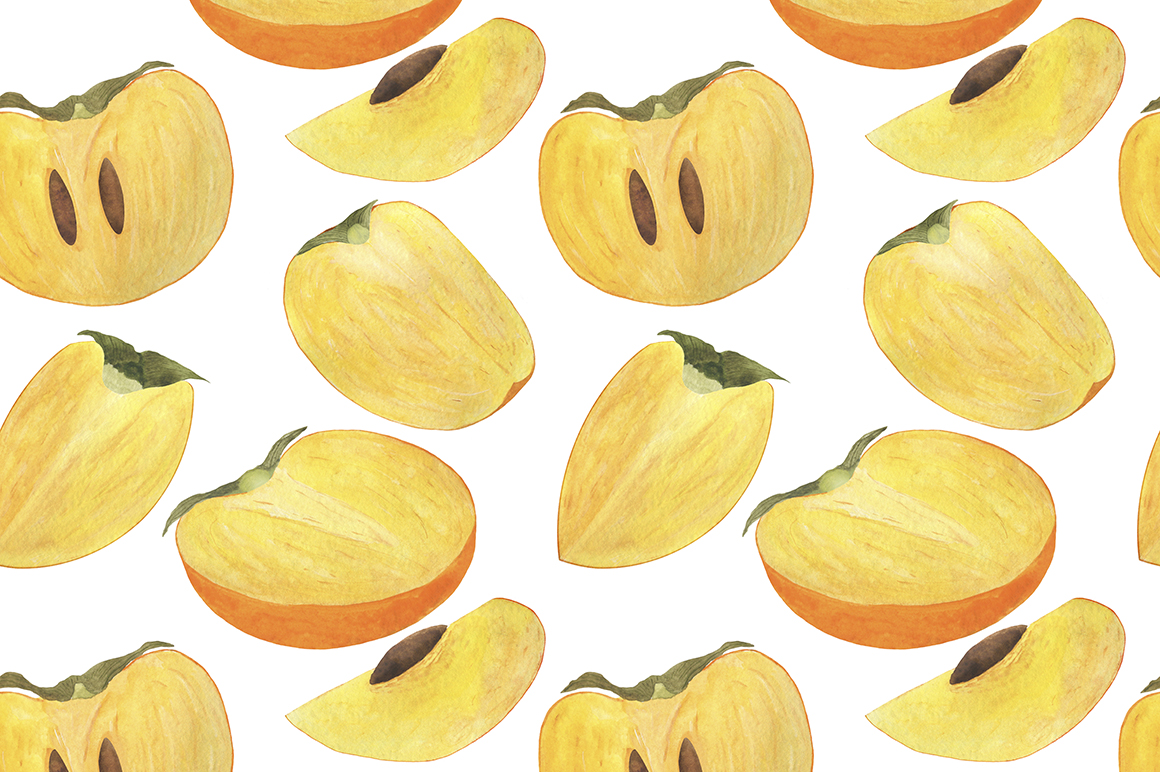 Set of persimmon watercolor illustrations. example image 8