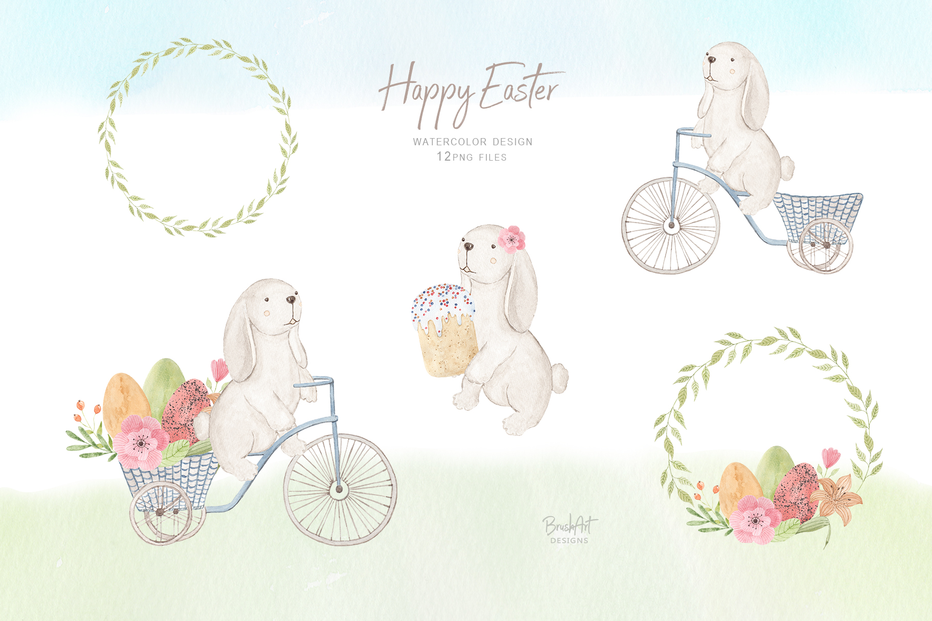 Happy Easter. Watercolor clipart. example image 5