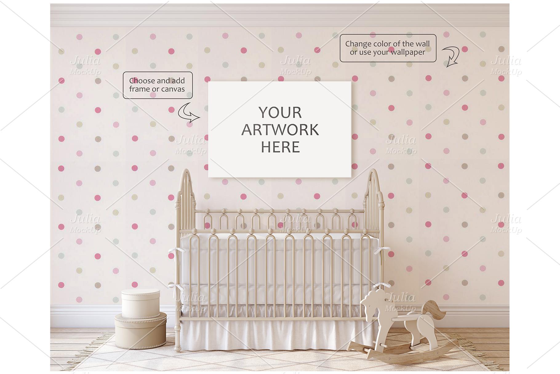 Romantic nursery. Wall&Frames Mockup. example image 3