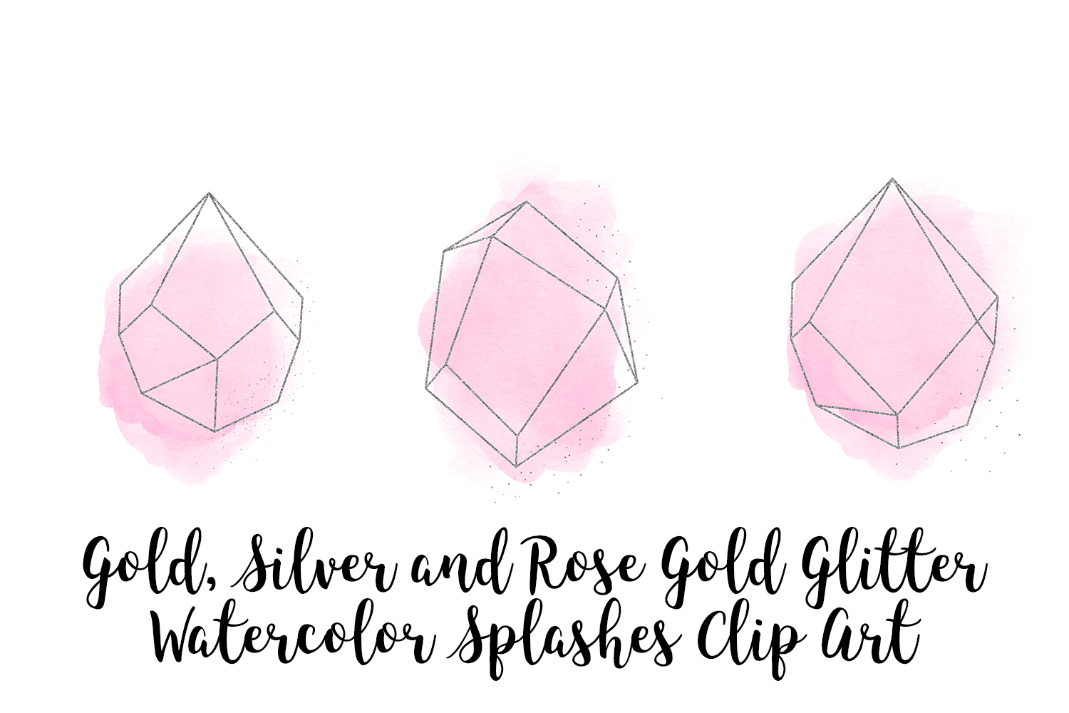 Gold, Silver and Rose Gold Crystals with Pink Watercolor example image 5