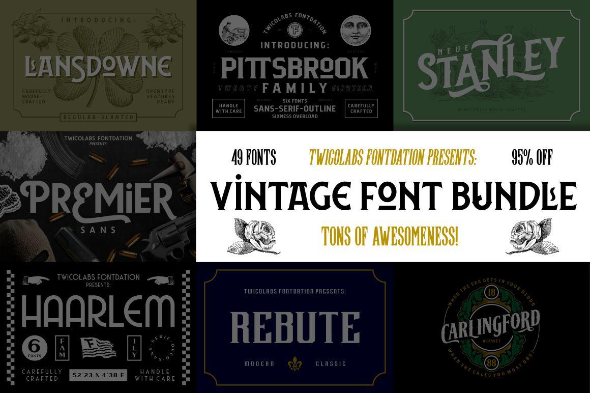 Vintage Font Bundle | 49 Fonts in 1 example image 1