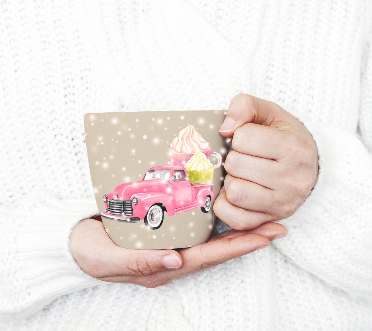 Watercolor Christmas pink pick-up cliparts example image 4