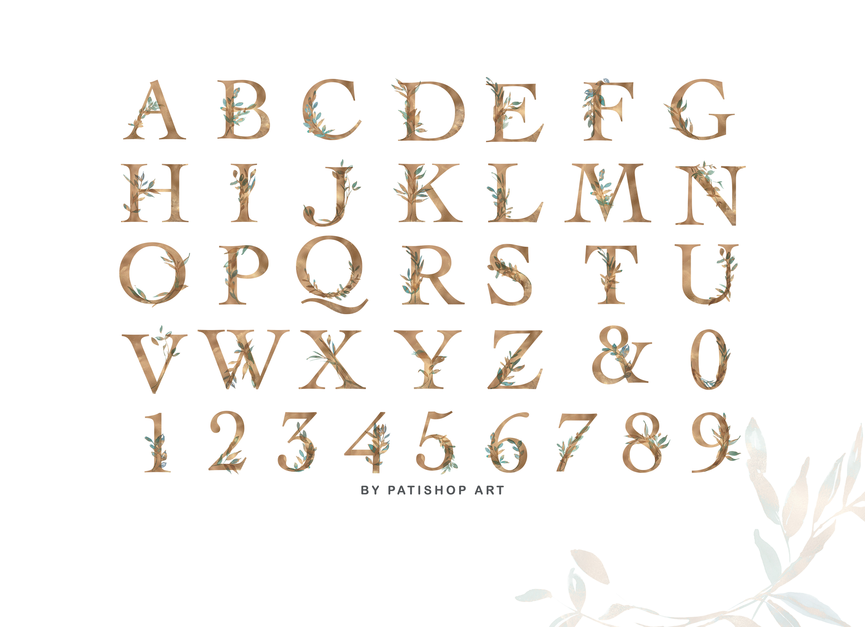 Gold Leaf Watercolor Alphabet & Leaf Clipart Collection example image 4