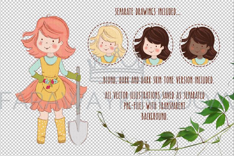 SPRING GARDEN Woman Season Work Vector Illustration Set example image 13