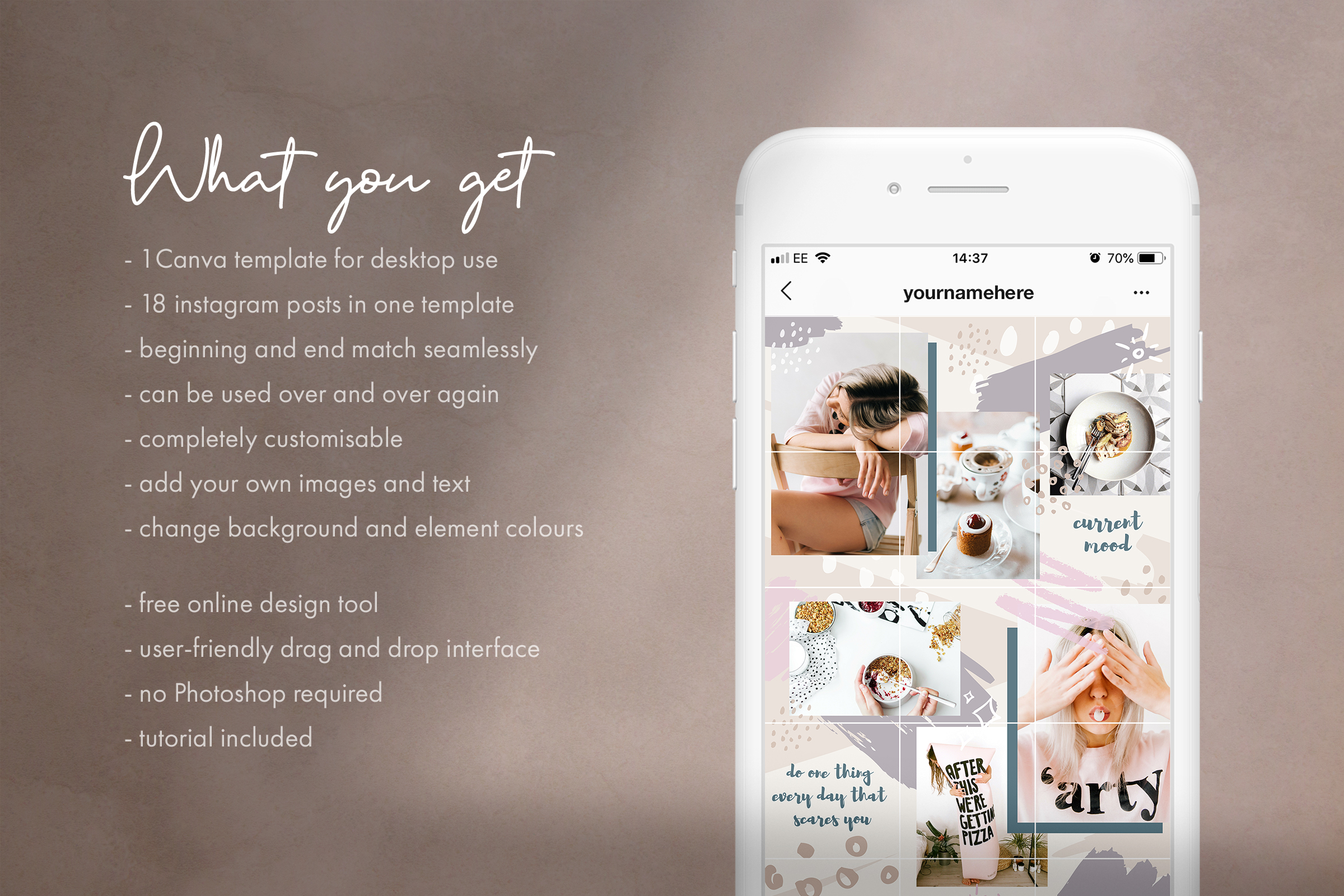 Instagram grid layout pack for Canva example image 2