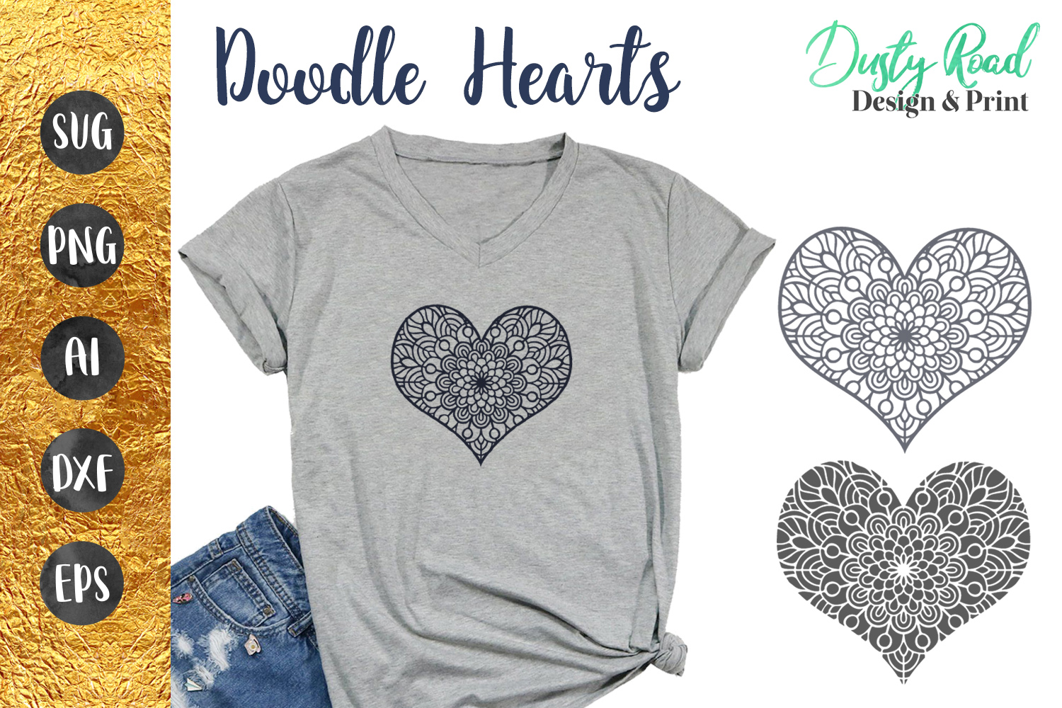 Doodle Hearts SVG Cut File example image 1