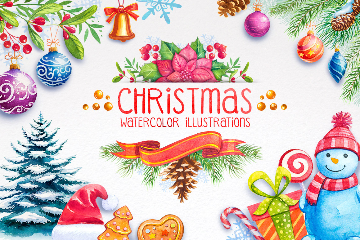 Christmas Illustrations.Christmas Watercolor Illustrations
