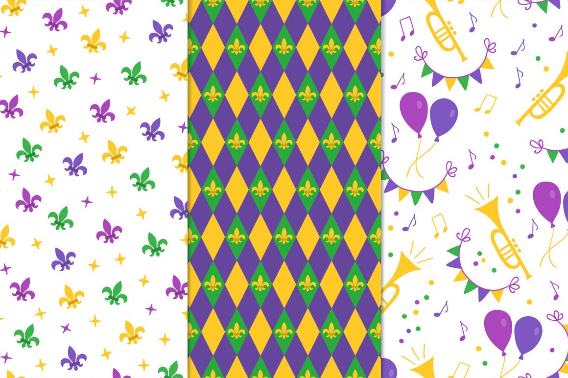 12 Mardi Gras Seamless Patterns example image 4