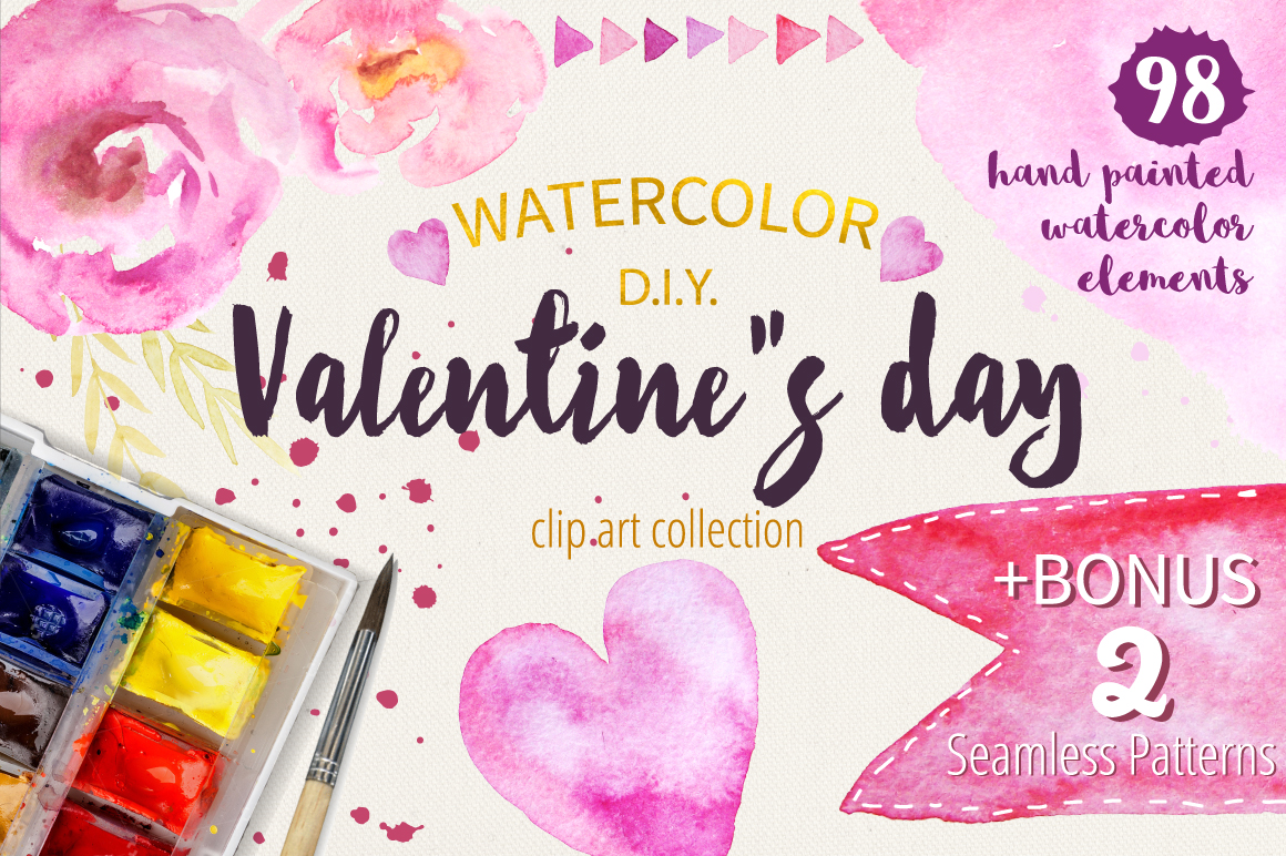 Watercolor Valentine Collection example image 1