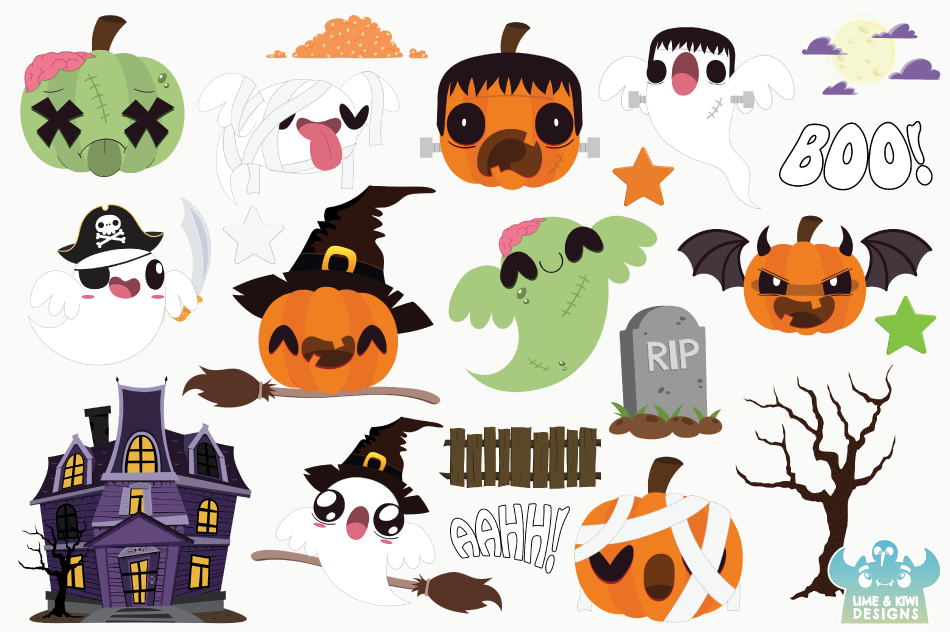 Halloween Pumpkins and Ghosts Clipart, Instant Download example image 2