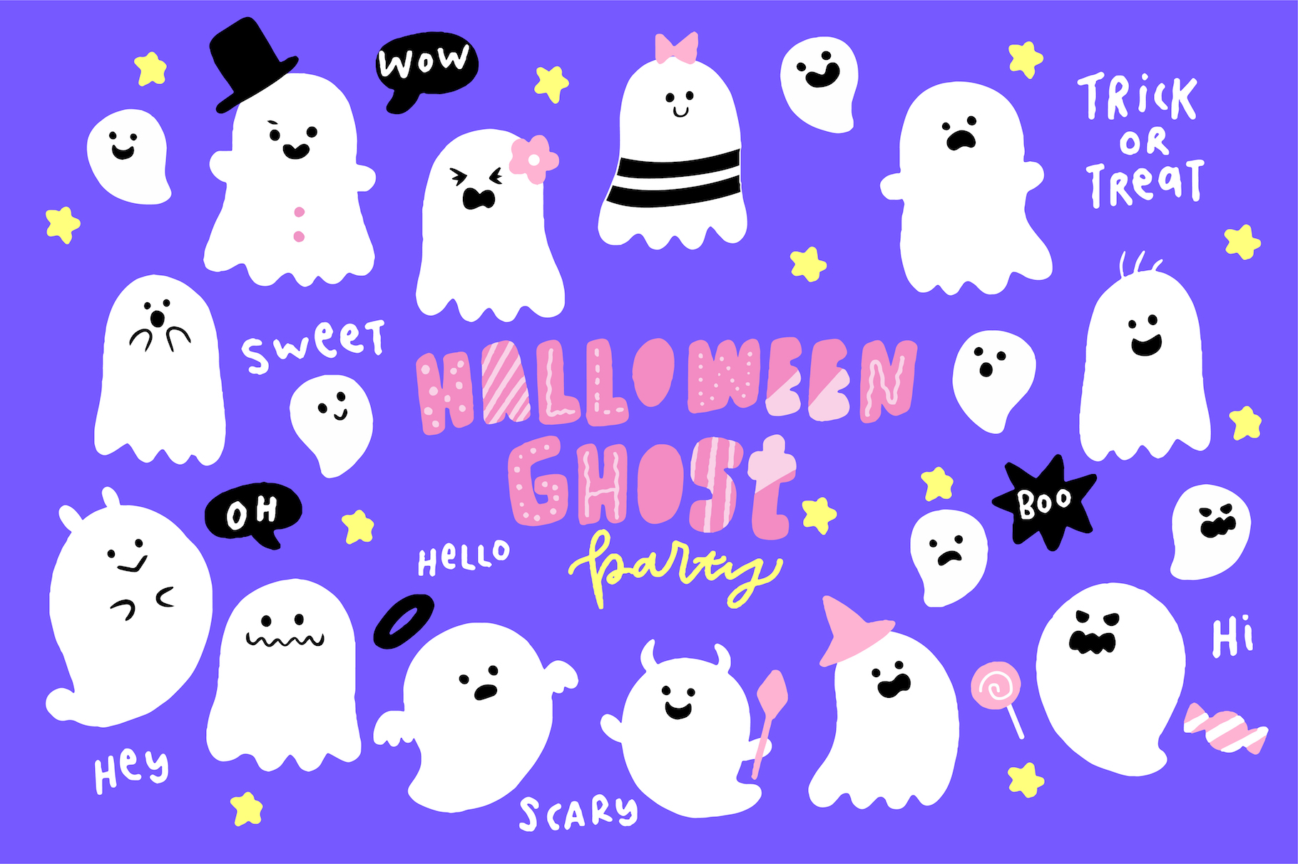 Cute Halloween Ghosts Illustrations example image 1