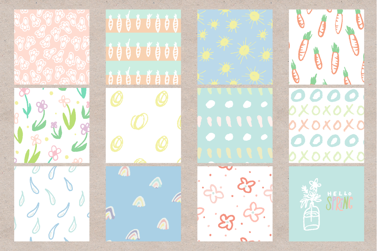 Hello Spring Seamless Patterns example image 2