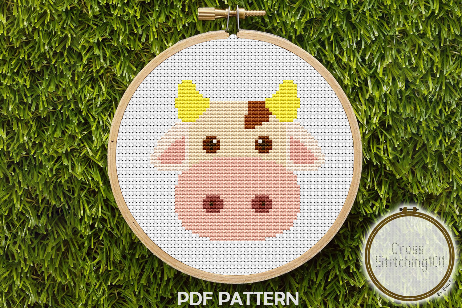 Brown Blanche Cow Cross Stitch Pattern -Instant Download PDF example image 1