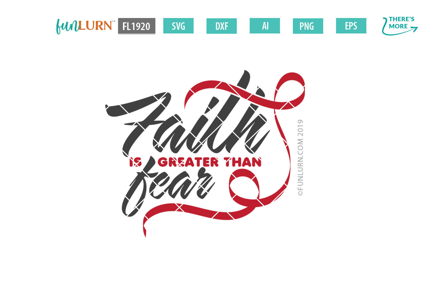 Faith is Greater Than Fear Red Ribbon SVG Cut File example image 2