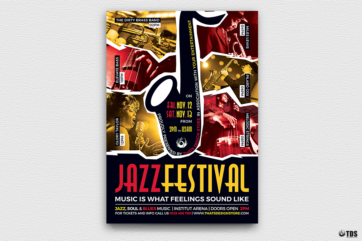 Jazz Festival Flyer Template V8 example image 2