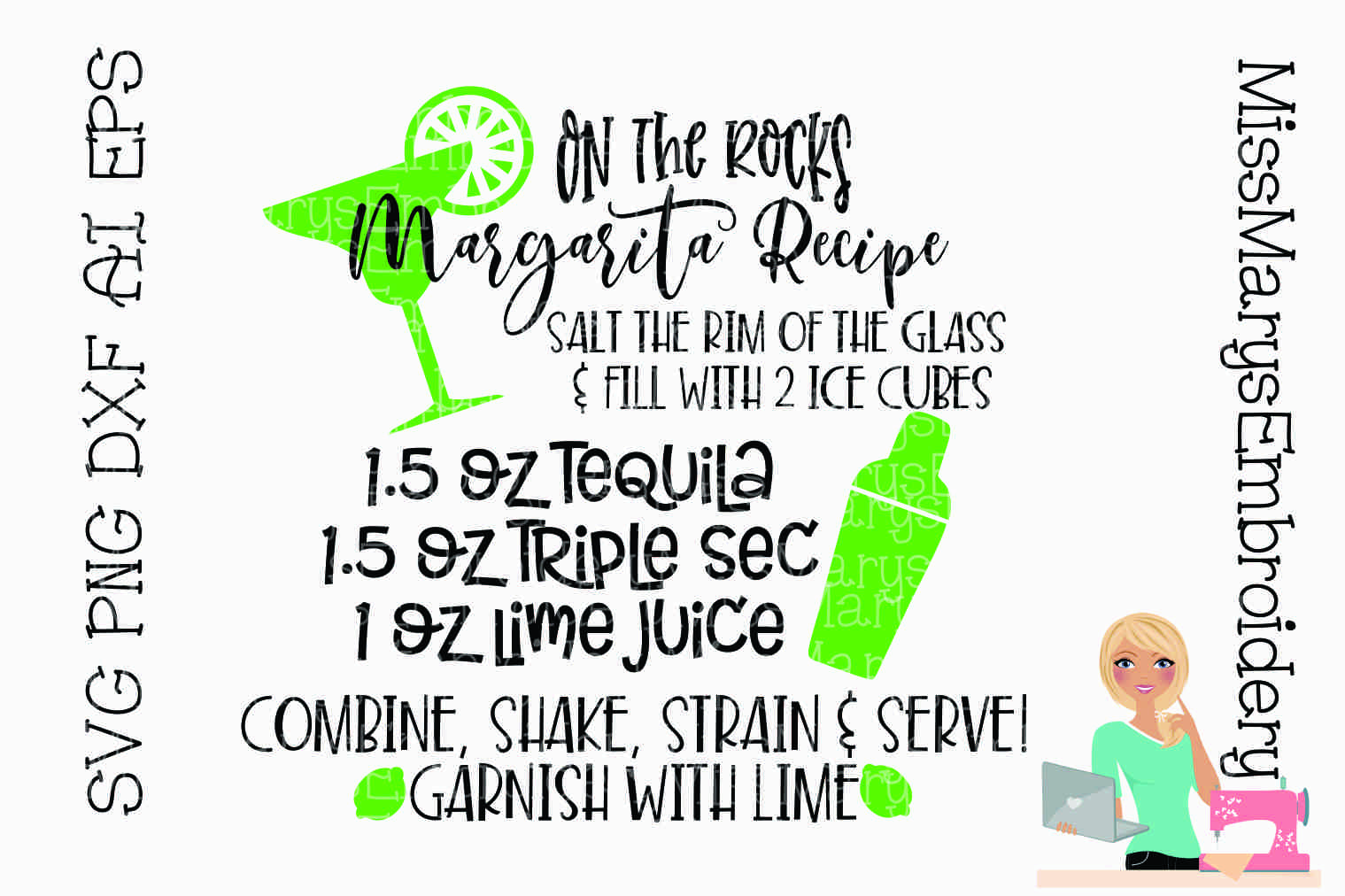 Margarita Recipe SVG Cutting File PNG DXF AI EPS example image 1