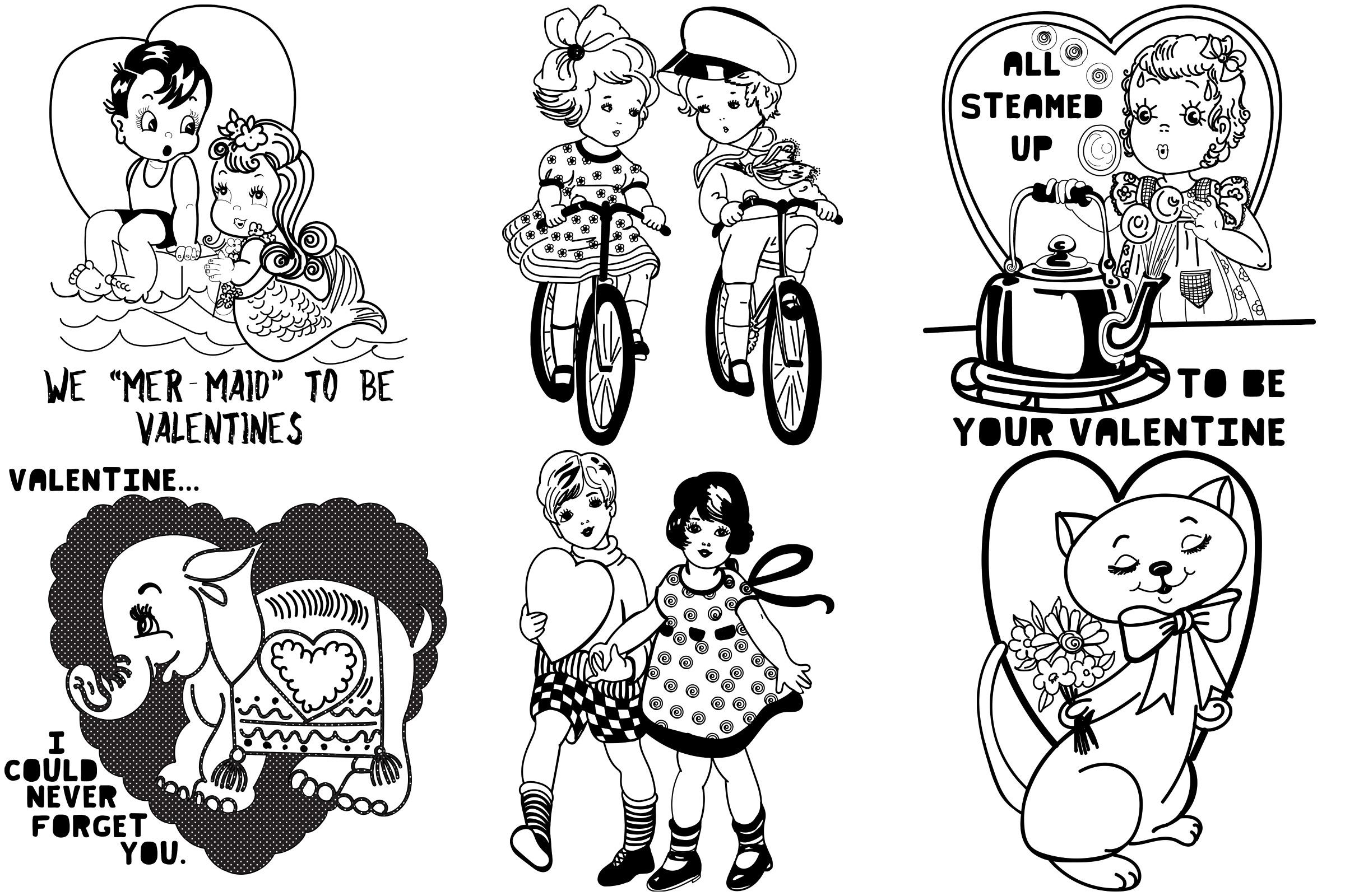 Mid Century Retro/Vintage Valentines AI EPS PNG example image 2