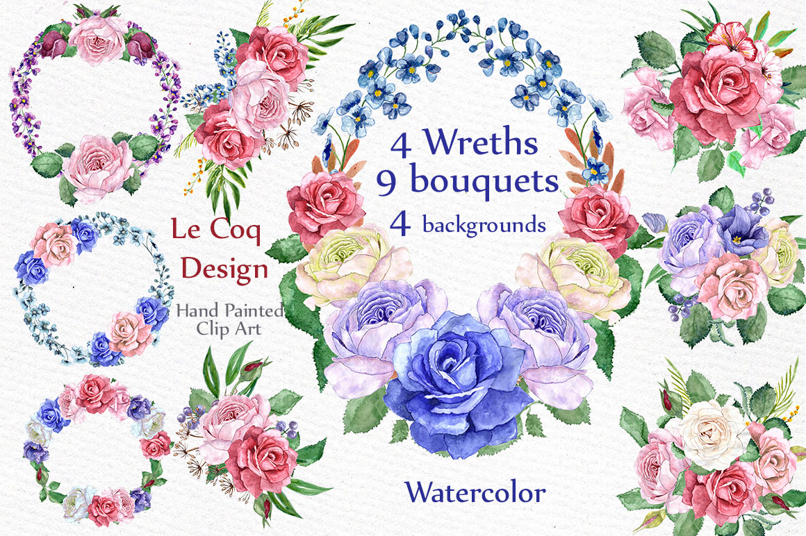 Watercolor wreaths clip art example image 1