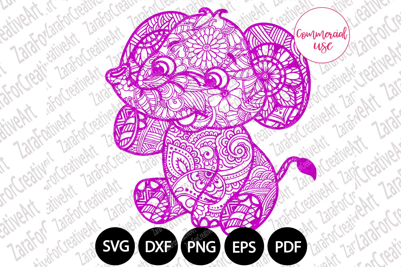 elephant mandala svg example image 1
