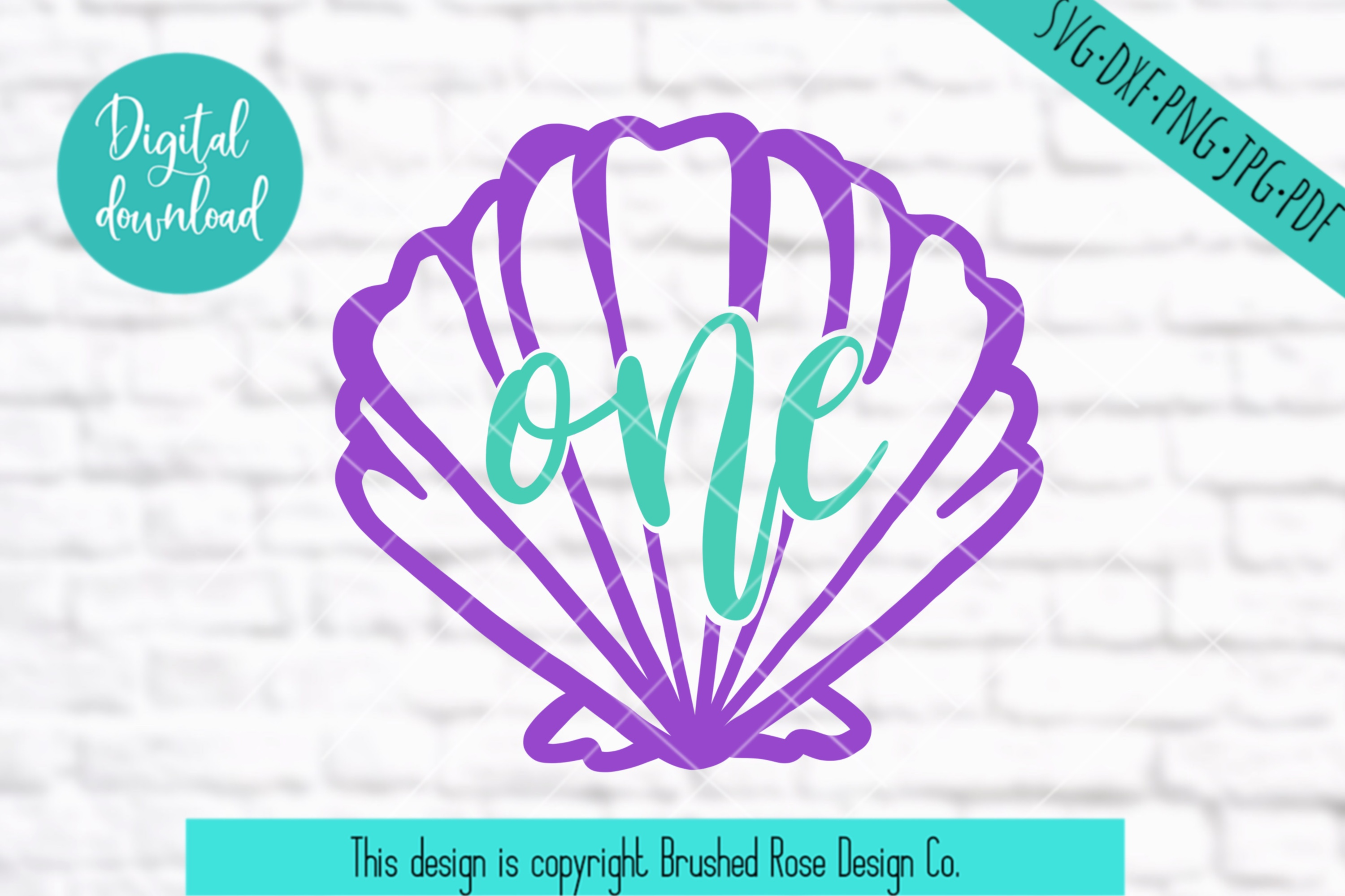 birthday svg, first birthday, seashell one svg, mermaid svg example image 1