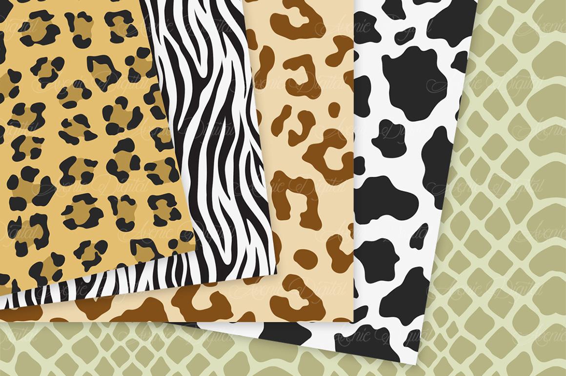 Animal Print Vector Patterns -  Safari Seamless Digital Papers example image 2