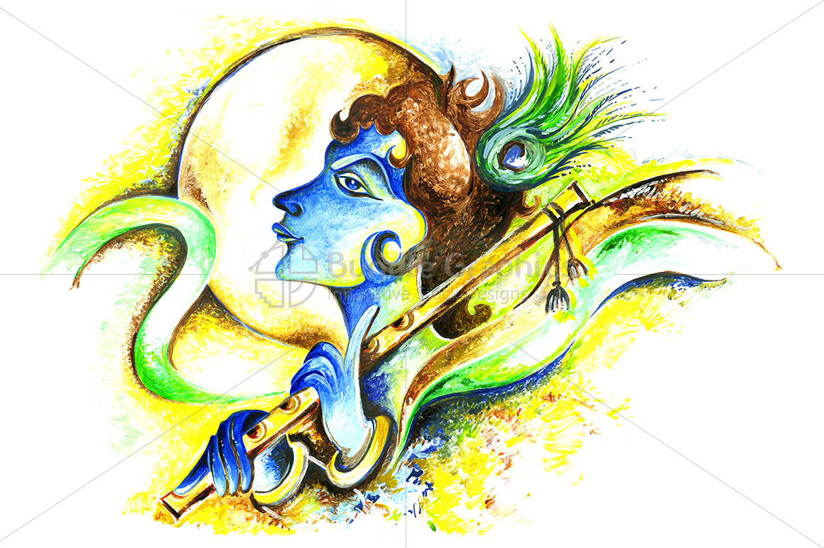 Lord Krishna - Abstract Painting example image 1