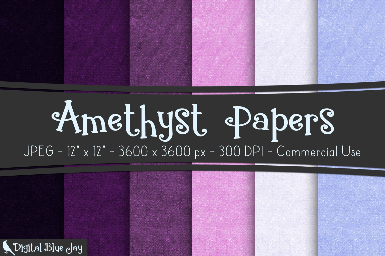 Digital Paper Textured Backgrounds - Amethyst Purple example image 1