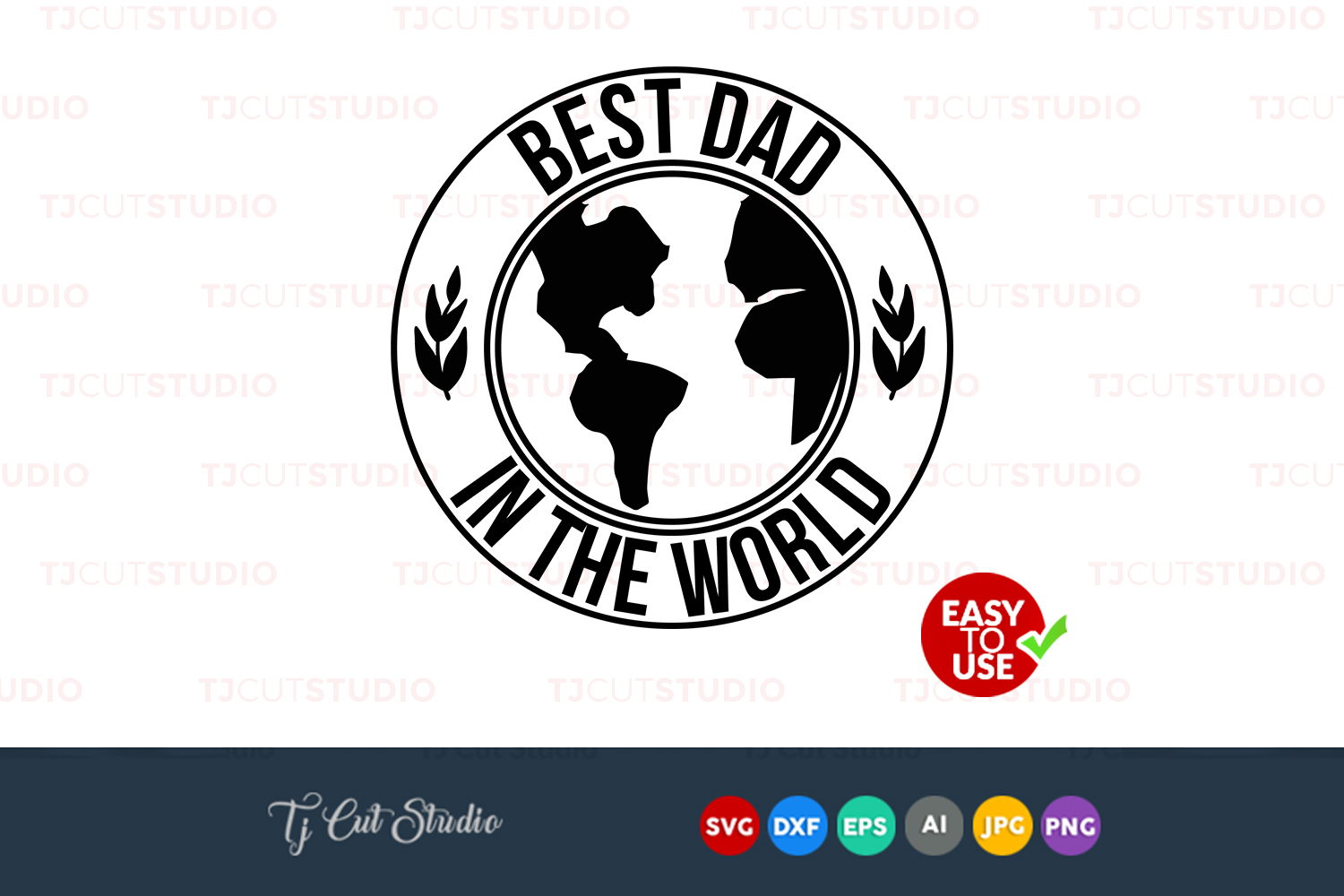 Best dad in the world, Fathers day svg, quote svg, Files for Silhouette Cameo or Cricut, Commercial & Personal Use. example image 1