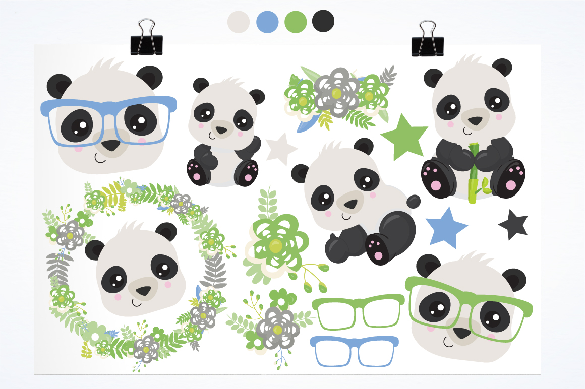 Hipster Pandas graphics and illustrations example image 2