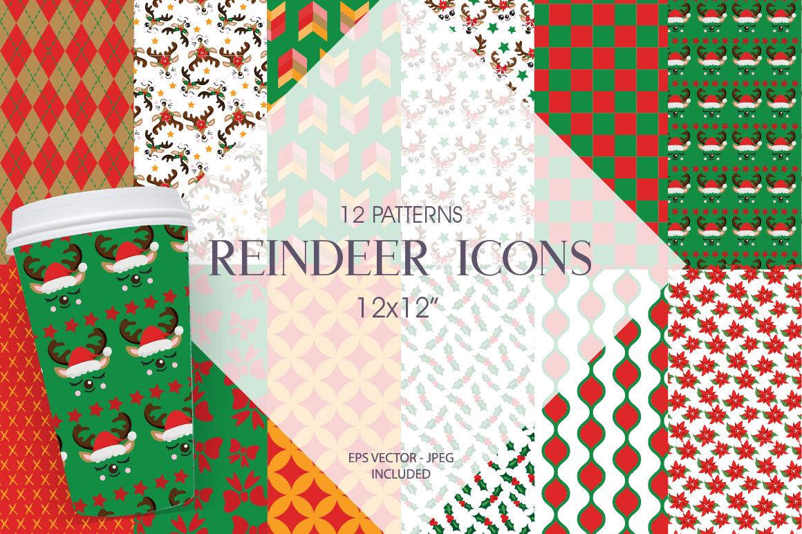 Reindeer Icons Pattern collection, vector ai, example image 1