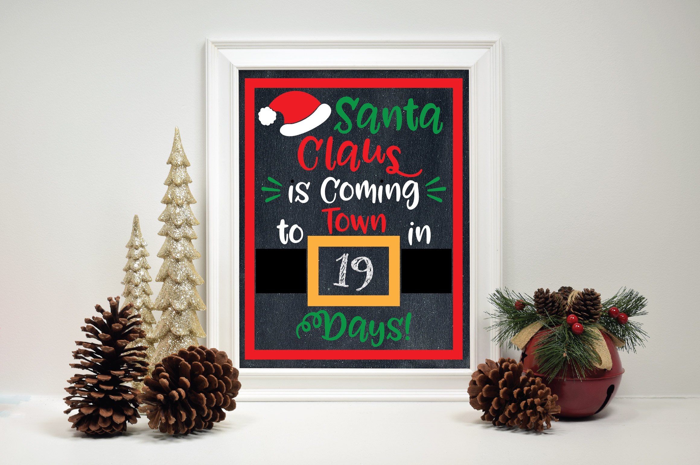 Christmas Countdown SVG Cut File - Santa SVG DXF PNG EPS example image 3
