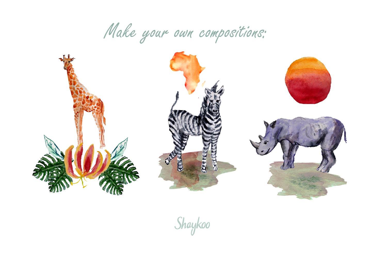 African Safari Animals Watercolor Clipart, Nursery Animals example image 8