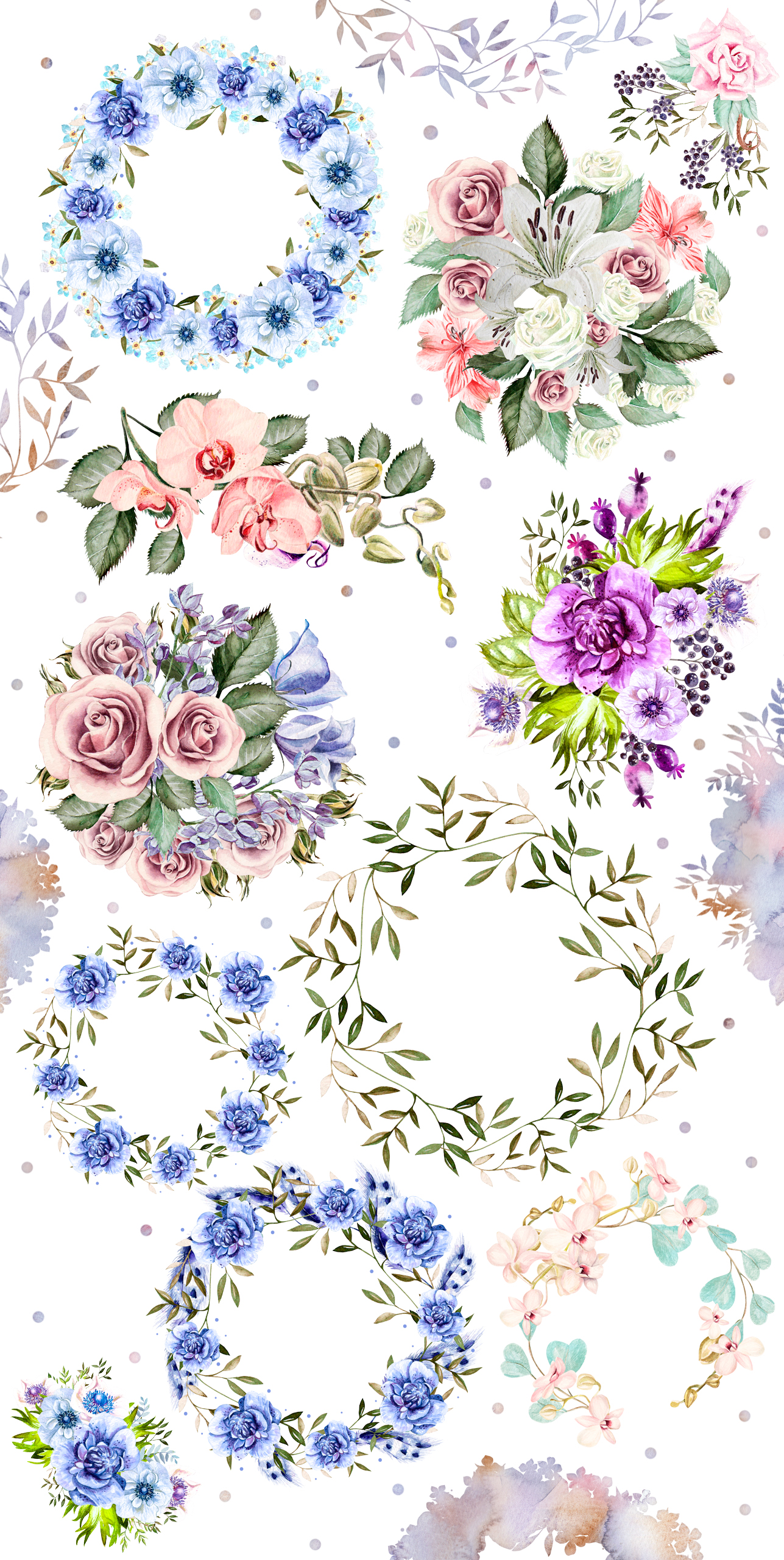 Watercolor Elements & Wreath example image 5