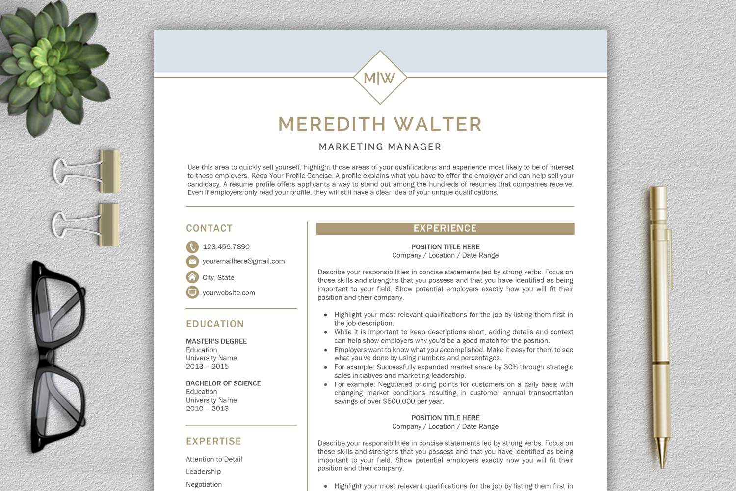 Resume Template / CV Templates, Professional Resume Template example image 1