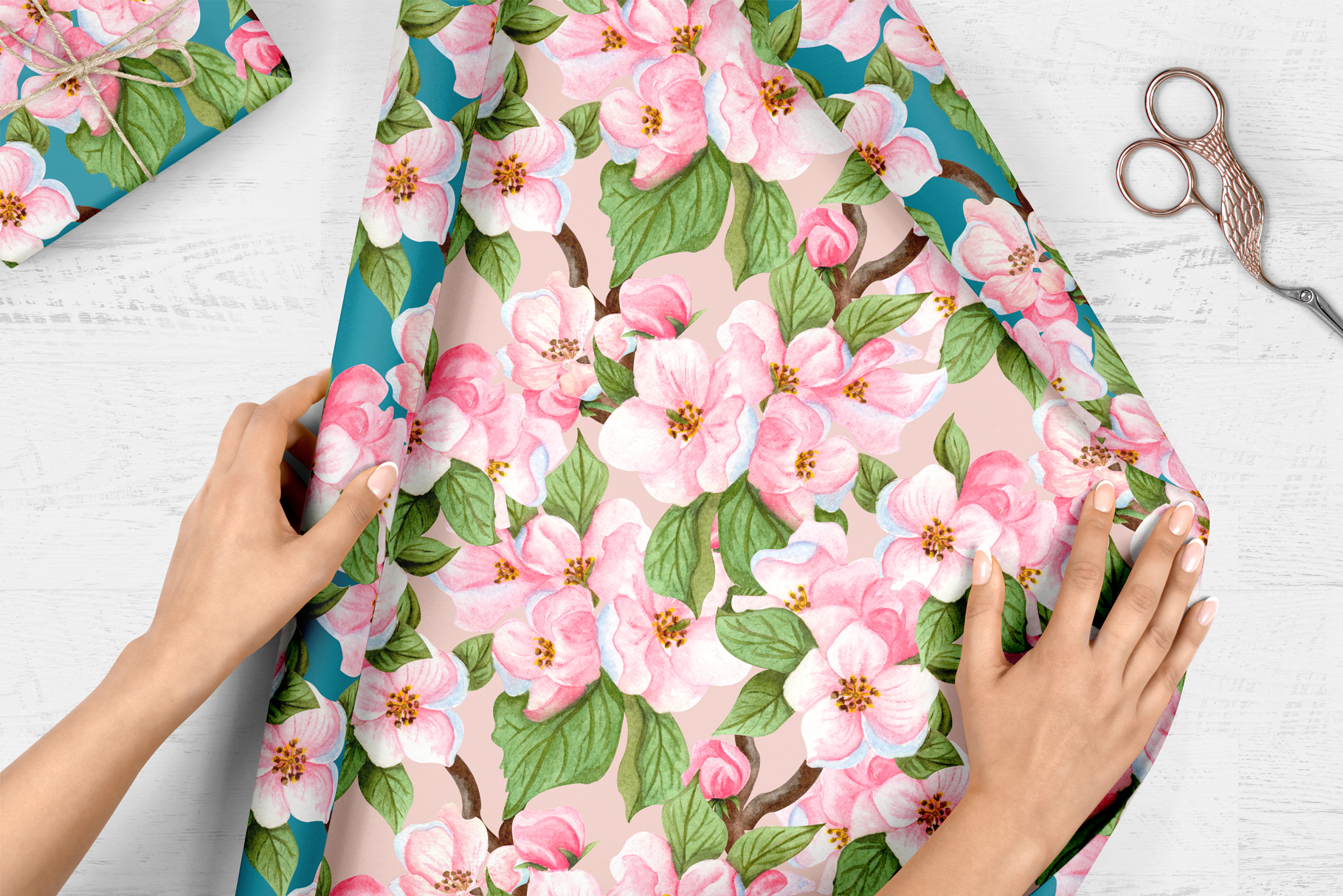 Apple Blossom Watercolor Clip ARt example image 8