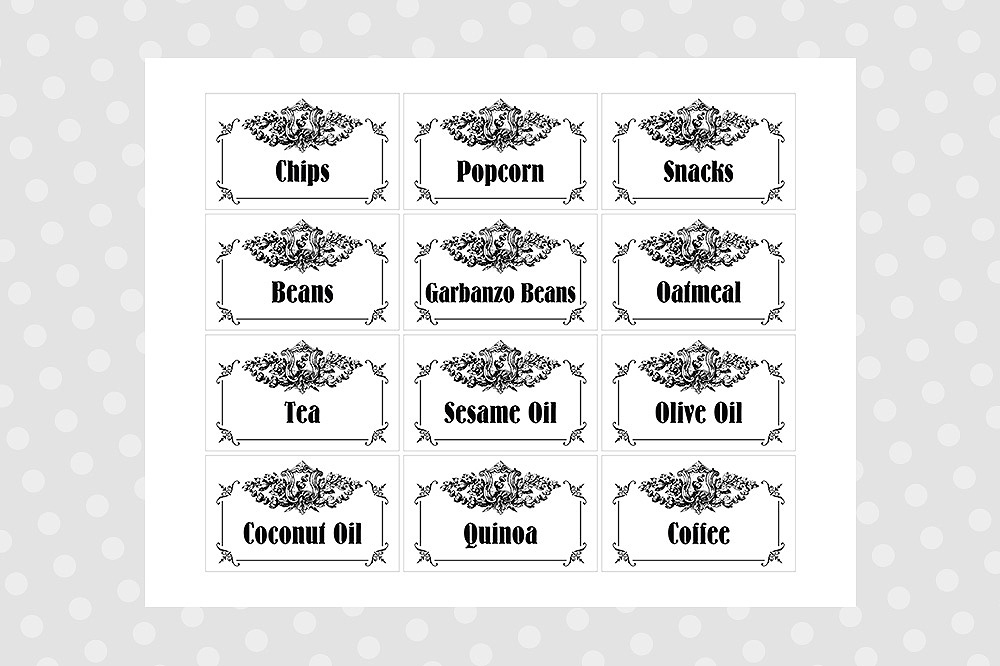 image about Printable Pantry Labels titled Black White Printable Pantry Labels - Typical
