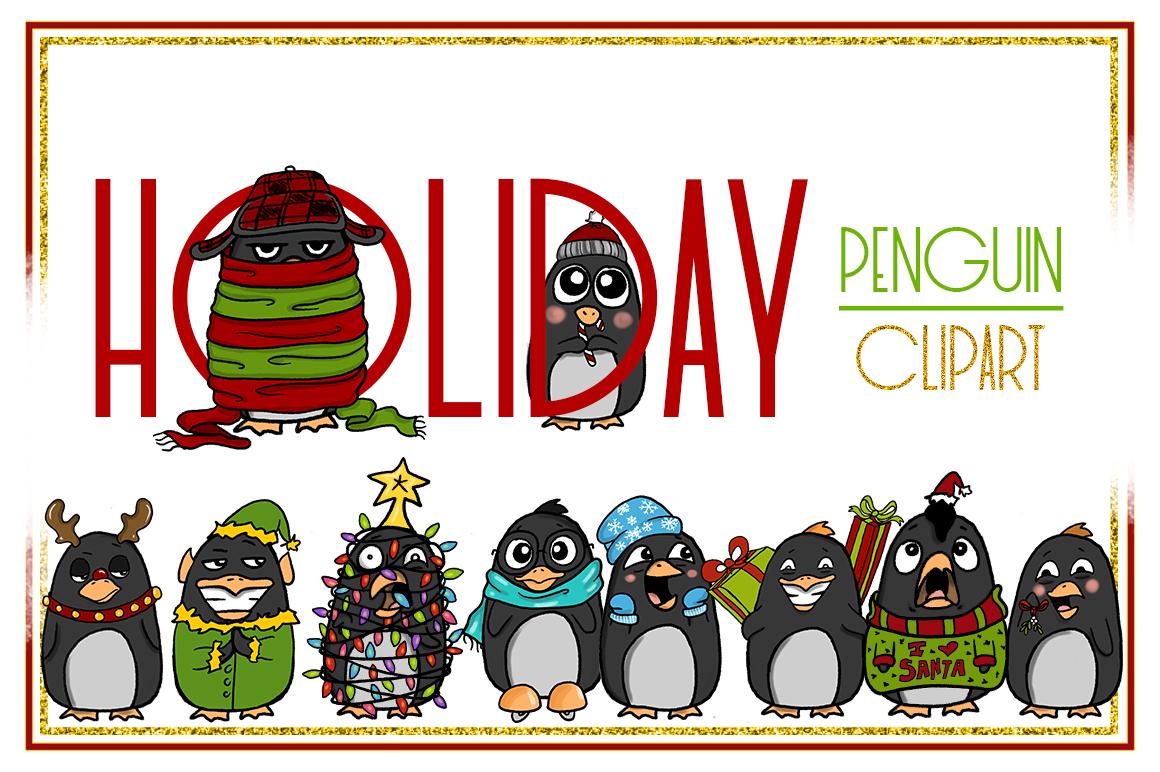 Holiday Clipart-Penguin Clipart-Christmas Clipart-Cartoon-Sticker Clipart-Digital-Penguin-Penguin Art-Digital-Penguin XMAS Drama-Commercial example image 1