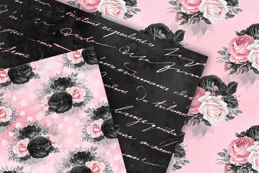 Pink and Black Floral Digital Paper example image 2