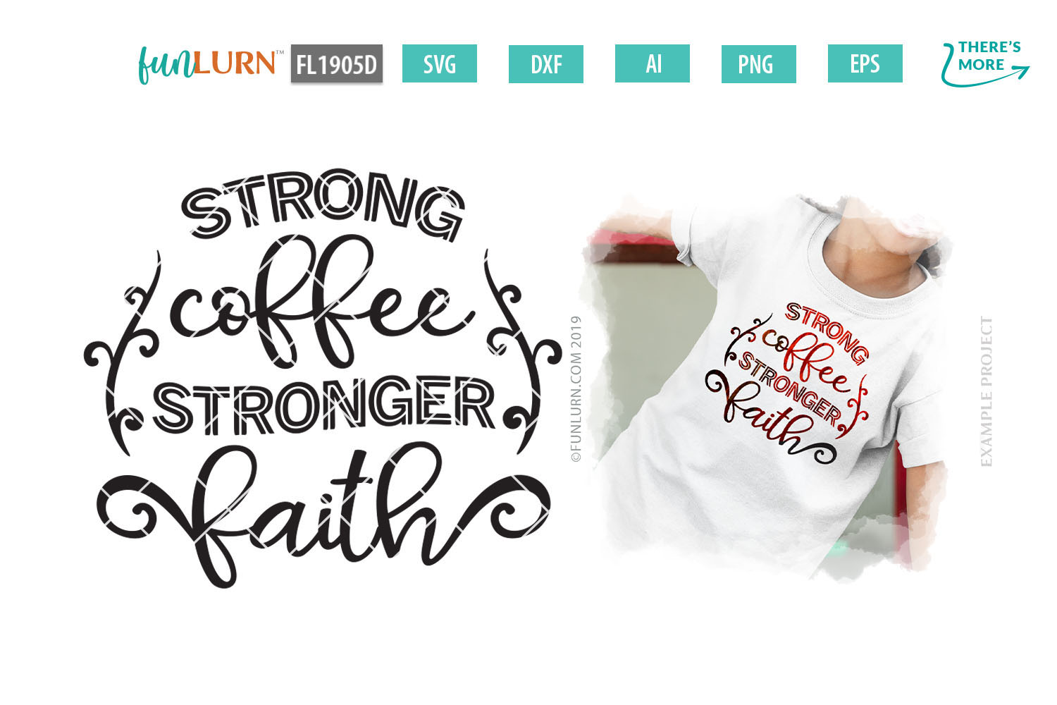 Strong Coffee Stronger Faith SVG Cut File example image 1